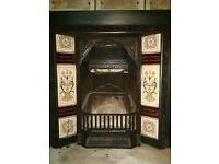 Original Victorian Cast Iron Fireplace with Slate Surround