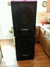 """REDUCED from £400, 2x Roland SSW-351 Speakers Bass Enforcers / Subwoofers 18"""""""