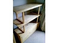 REDUCED PRICE! Solid Wooden Shelves with Storage Drawer Base - Great Condition