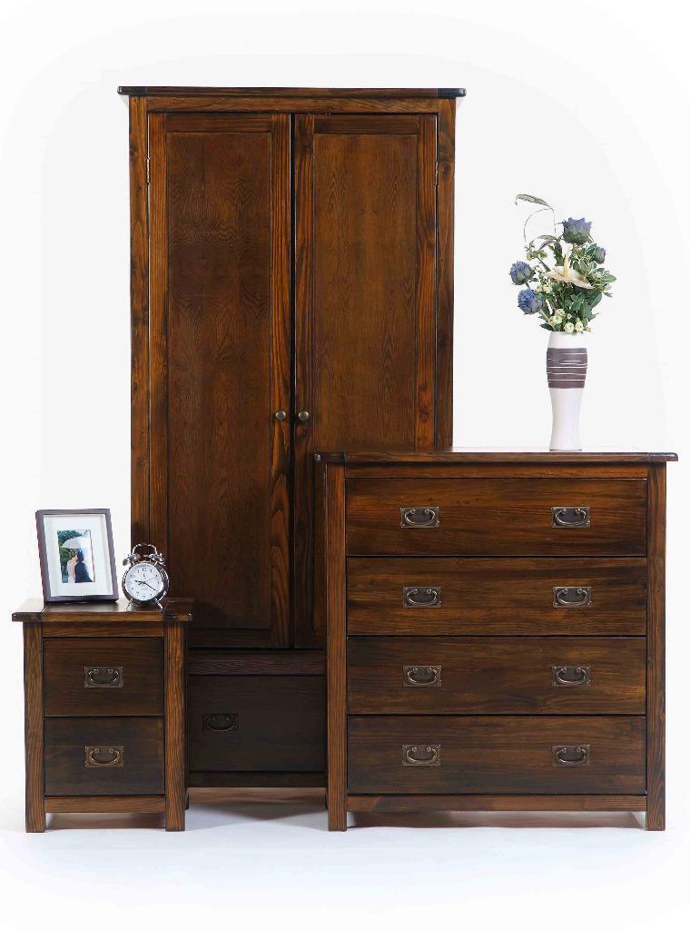 boston dark pine 3 piece bedroom furniture set united kingdom