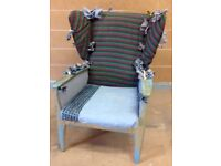 Vintage/shabby chic winged back chair
