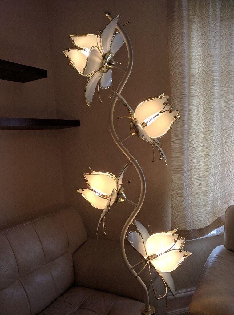 Floor Lamps   Vintage Antiques Lotus Glass Flower Brass Floor Lamp