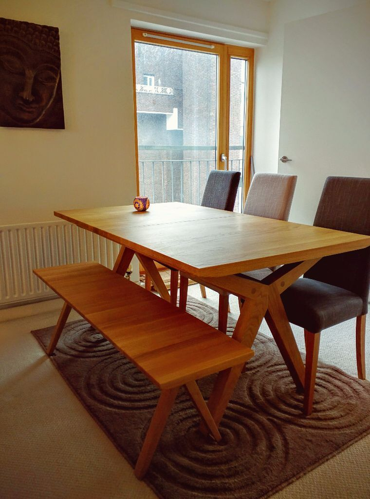 John Lewis Noah Dining Table With Matching Bench And Four Chairs In  Excellent Condition