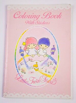 Sanrio Little Twin Stars Unused Coloring Book 18 Stickers Vintage 1993 Kiki Lala