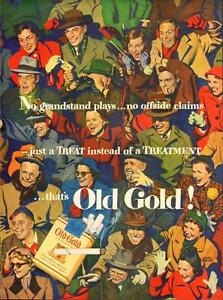 1950 full-page color magazine ad for Old Gold Cigar ettes