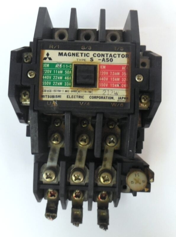 MITSUBISHI ELECTRIC CORPORATION MAGNETIC CONTACTOR TYPE S-A50, 100-110V