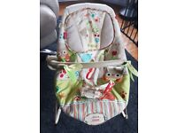 Fisher-Price Woodsy Friends Comfy Time Bouncer with Vibration setting.