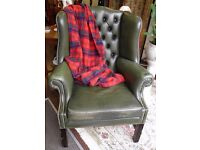 Stunning Wing Back Genuine Leather Wing BAck Vintage Chair in Racing Green - WE CAN DELIVER