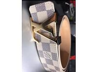 LV Belt White/Gold
