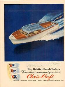 1944 full-page color magazine ad for Chris-Craft Boats