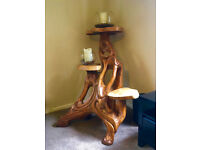 Beautiful Large Solid Wooden Teak Root Triple Display Stand - Unique Hand Made Table - Cost £500