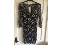Lipsy size 12 black & silver lace stretch dress with 3/4 lace sleeves