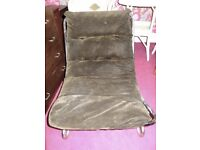 Vintage tubular steel chair with brown velvet seat