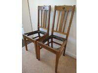 2 x E A Taylor Split Heart Oak Dining Chairs Arts & Crafts