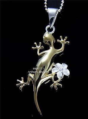 Plated Gecko - YELLOW GOLD PLATED SHINY GECKO SILVER 925 HAWAIIAN PLUMERIA FLOWER PENDANT CZ