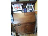 Antique Wood Drop Front Secretary Desk