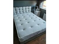 "CRUSHED VELVET SILVER COMPLETE BEDSETS 24"" CUBED HEADBOARD, FREE LUXURY PILLOWS"