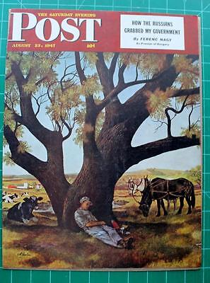 Vintage Saturday Evening Post Cover August 1947 John Atherton Illustration Cows