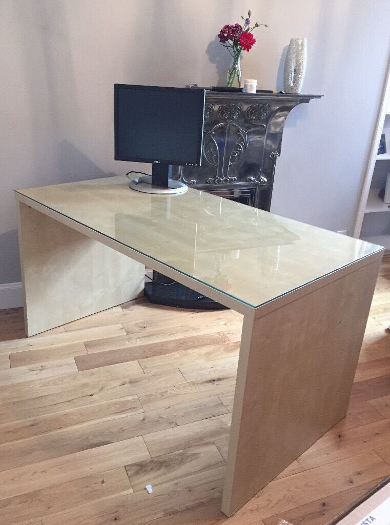 IKEA Malm Beech Desk + glass top. Looking for fast sale!
