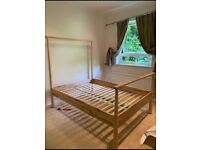 Ikea wood double bed frame
