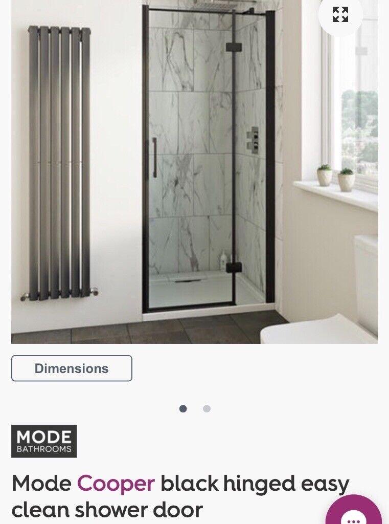 Mode Cooper Black Hinged Easy Clean Shower Door 1000mm In