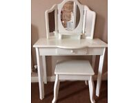 Girls white dressing table and stool