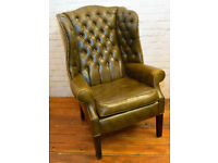 Chesterfield green high back Queen Anne wingback armchair tub vintage chairs leather antique lounge