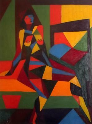 Quality Picasso Period 1950S Cubist Abstract Oil Painting Studio Nude