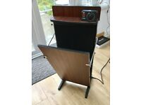 VINTAGE 1970S CORBY TROUSER PRESS, TYPE J, TIMER, WALNUT FINISH, RETRO MENS GROOMING AID, DISPLAY
