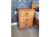 Real Oak Wood Bedside Table