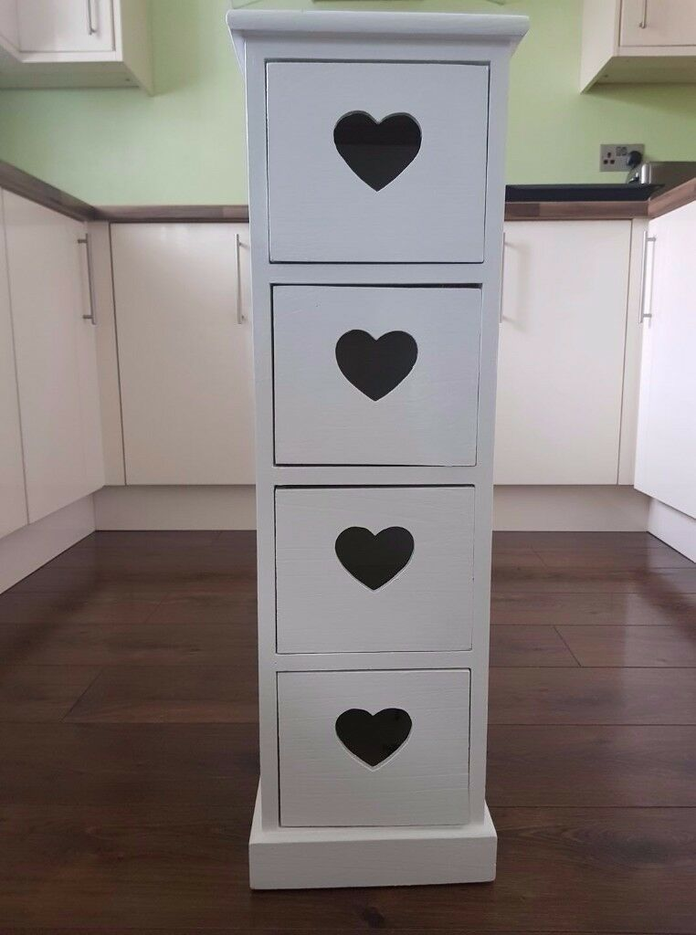 Pretty Slim White Tall 4 x Drawer Unit