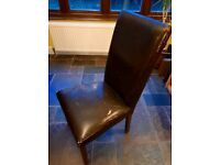 8 Brown Leather Dining Chairs