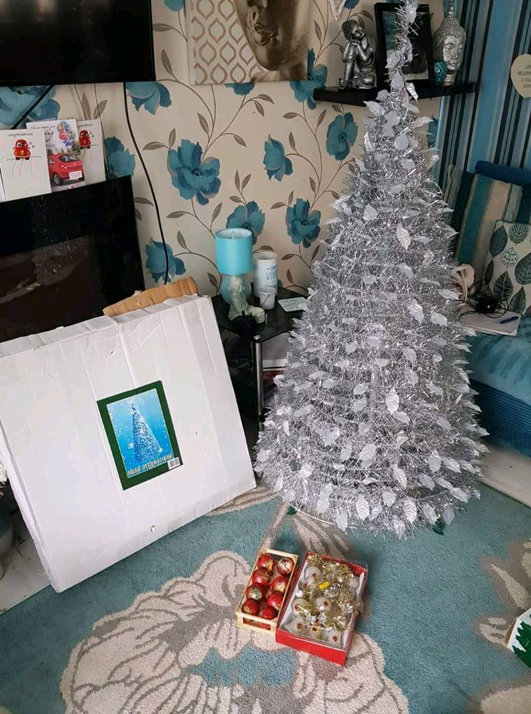 Silver pop up Christmas tree