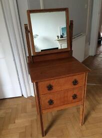 Antique 'Arts and Crafts' dressing table/ dresser with drawers (vintage bedroom furniture)