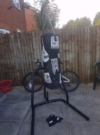 Boxing bag + stand + gloves