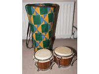 Hand Made Djembe with Soft Case and Bongos