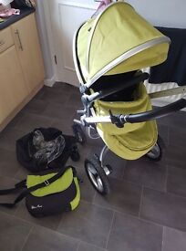 Silvercross surf2,carrycot,seat,raincover,drink holder, silvercross changing bag,silvercross parasol