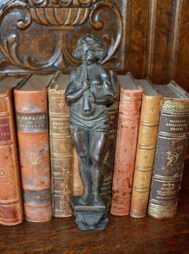 Antique Black Forest Carved Wood Figural Cherub Horn Caryatid Corbel on Pedestal