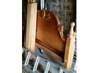 Heavy pine bed. Head board shown, tail board similar.