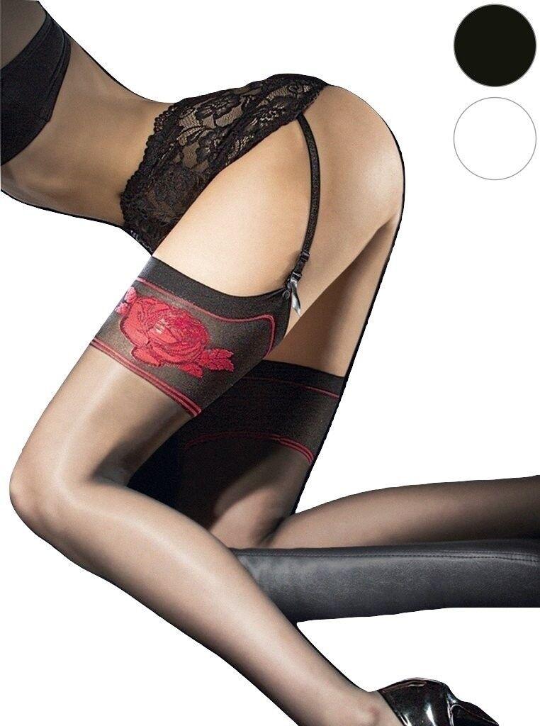 Bas sexy nylon femme pour porte-jarretelles noir Fiore etheris 20 den T2 T3 T4
