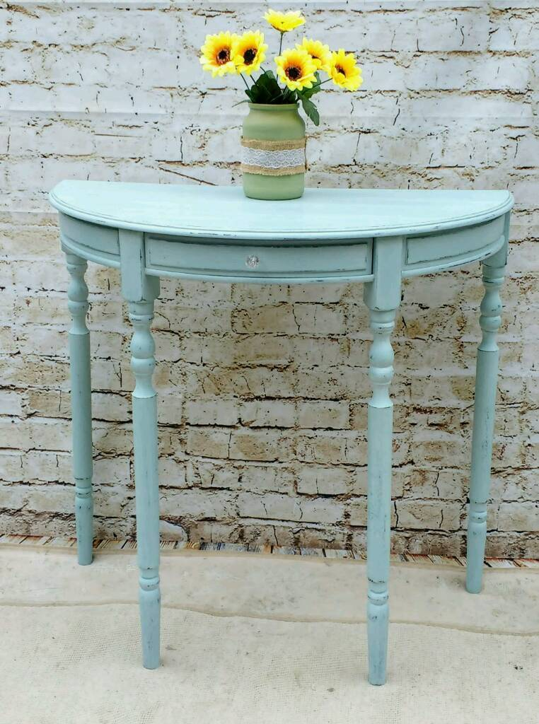 Shabby chic half moon console table lamp table hall table duck half moon console table lamp table hall table duck egg aloadofball Gallery