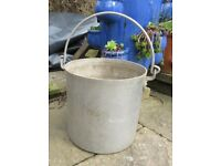 Vintage French metal bucket / planter