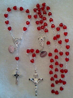 RED HEART Czech Glass Rosary SET- Made in Czech-FULL LENGTH AND DECADE/CHAPLET