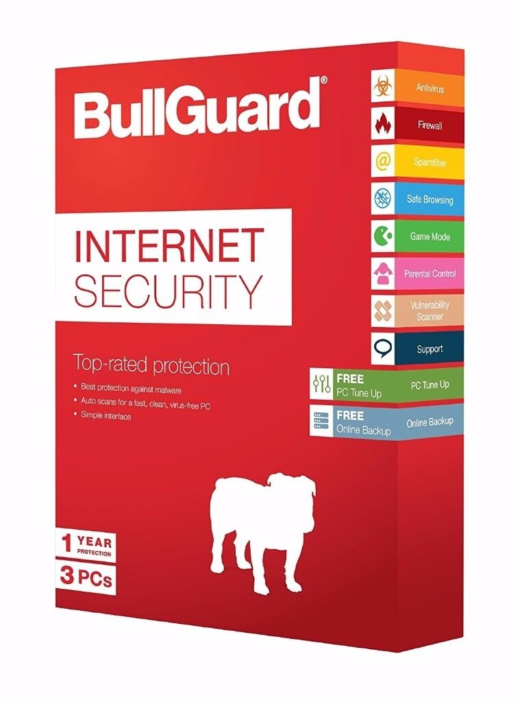 BULLGUARD INTERNET SECURITY - 3 PCs, 1 YEAR LICENCE **NEW & UNUSED**