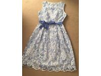Per Una Premium Lupin Blue & White Embroidered Fit & Flare Dress Size 12