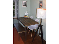 Rustic Industrial Kitchen Table x2 Chairs and Bench hairpin Steel Legs