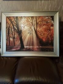 Large framed picture forest scene with diamonte detail. Cost £140 selling for £60