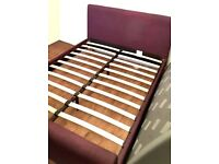 Upholstered Bed Frame, Double, Purple