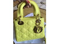 Christian Dior Lemon Yellow Small Lady Dior Gold Hardware Two Shoulder Straps