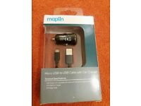 Brand New MAPLIN Orignal Micro USB to USB Cable with Car Charger 2.1A